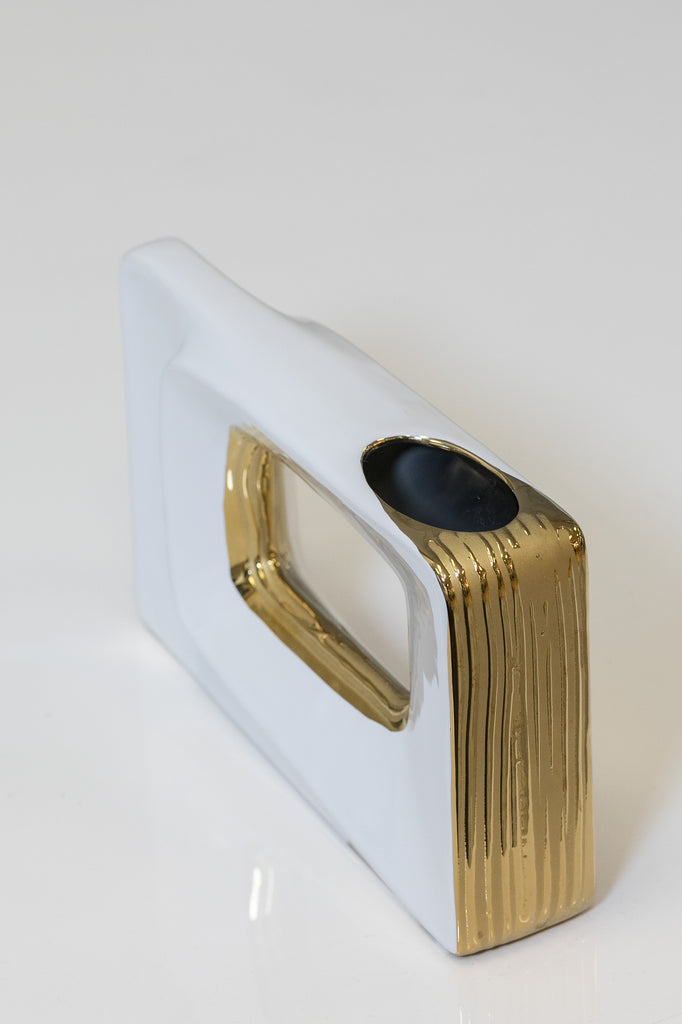 "10"" White/Gold Rectangular  Vase - Pur Ceramic Collection"