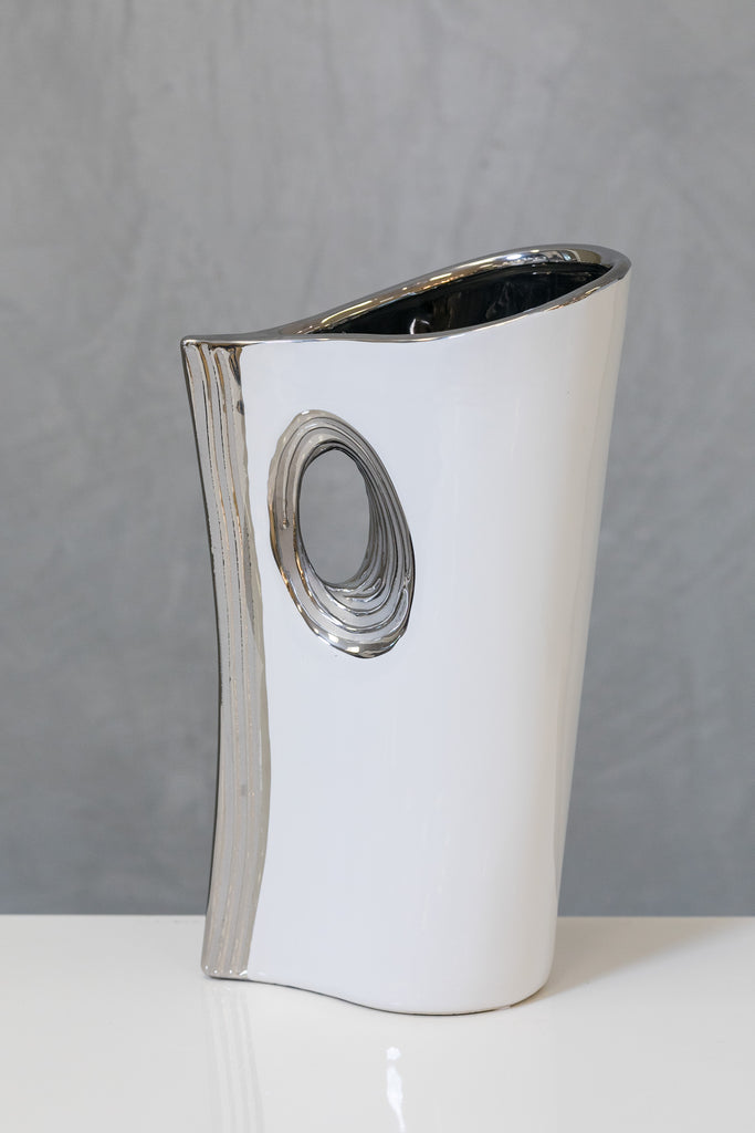 "12"" White/Silver Stand Vase - Pur Ceramic Collection"