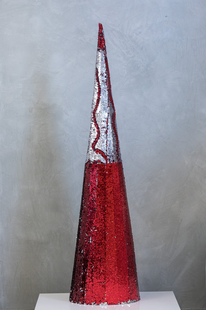 "71"" Reversible Sequin Tree - Red & Silver"