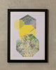 "18"" x 24"" Yellow & Gray Hexagon - Geo Wall Décor"
