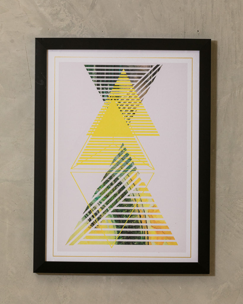 "18"" x 24"" Yellow & Gray Triangle - Geo Wall Décor"