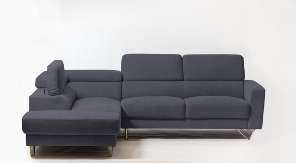 Della Chic Left Sectional- Charcoal Gray