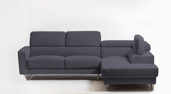 Della Chic Right Sectional- Charcoal Gray