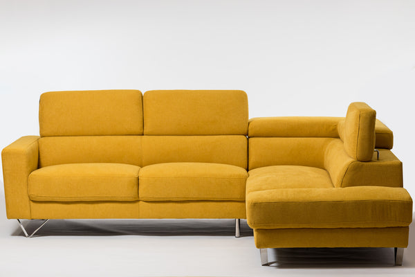 Della Chic Right Sectional-Dijon Yellow