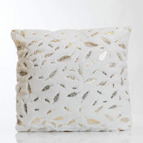 White/Gold Feathers Pillow-Etre Collection