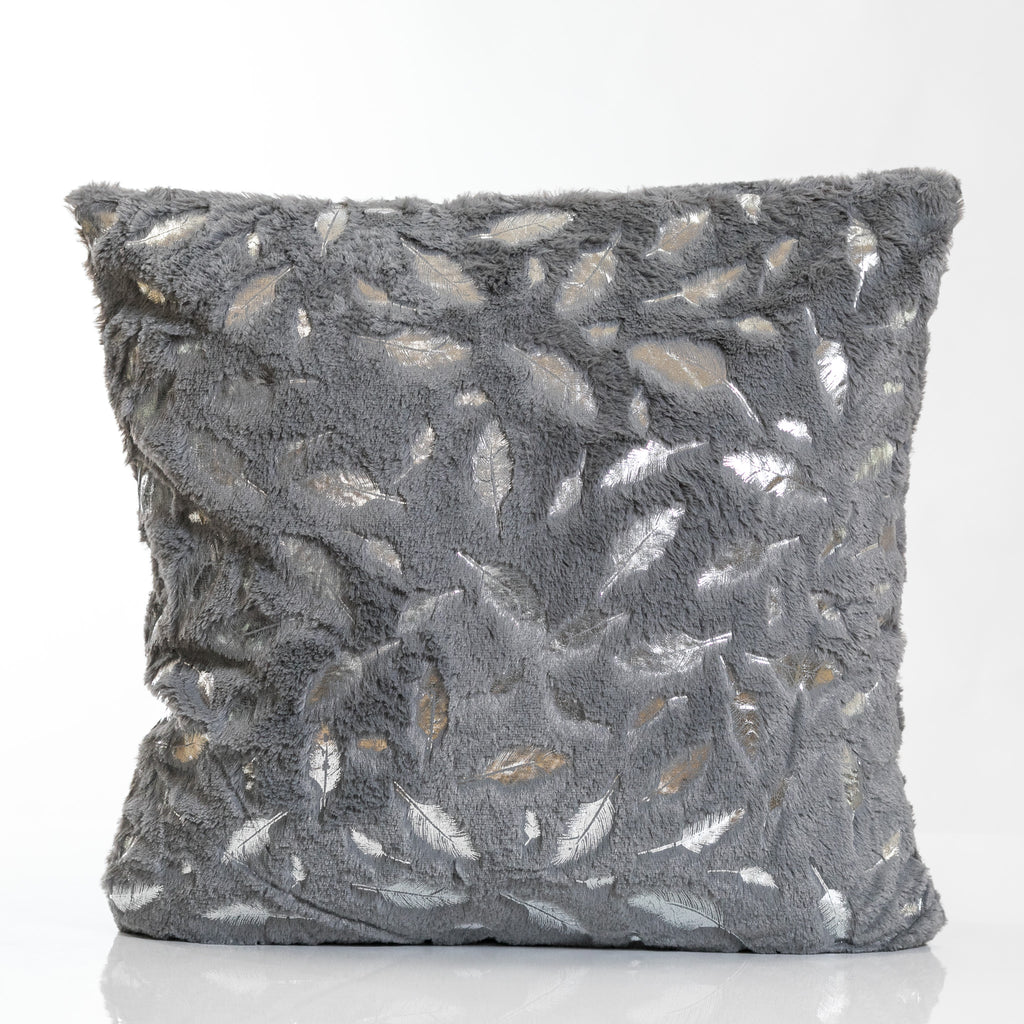 Gray/Silver Feathers Pillow-Etre Collection