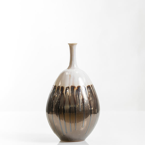 "12"" Egg Shape Pot Vase- Smelten Collection"