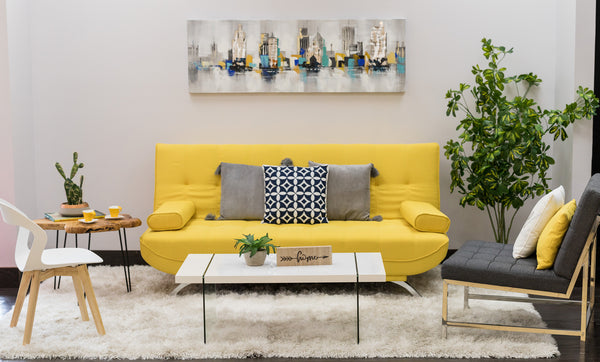 "75"" Unique Sofa Bed (Futón) - Yellow"