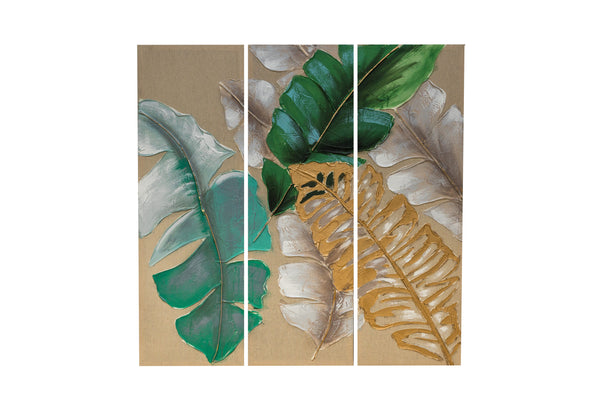 "12""x 36"" set of 3 Banana Leaves Wall Decor"