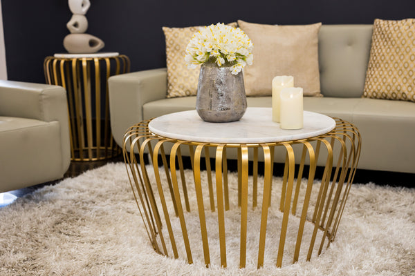 "32"" Lignes Gold/White Marble Table- Metalle Collection"