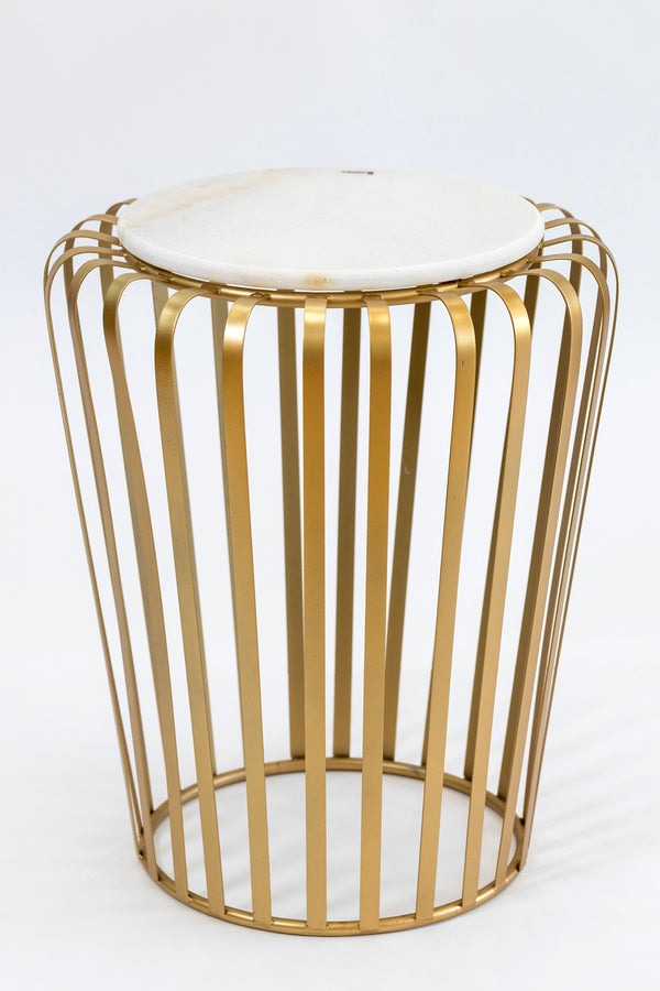"20"" Lignes Gold/White Marble Table- Metalle Collection"