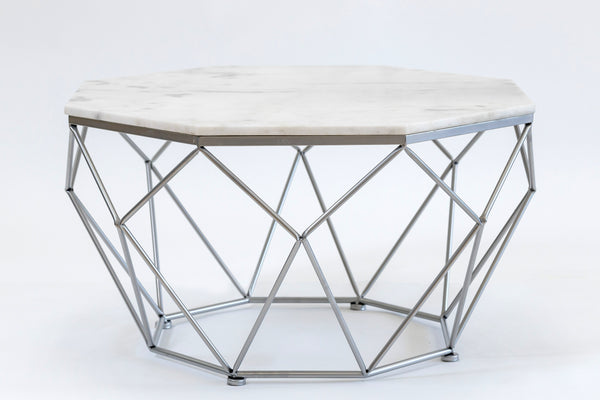 "32"" Diamond Silver/White Marble Table- Metalle Collection"