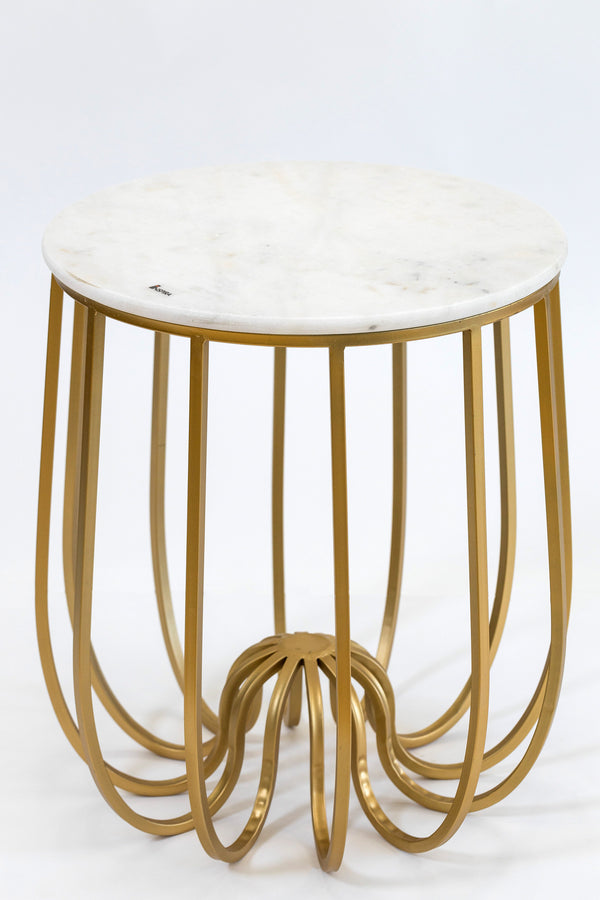 "20"" Fleur Gold/White Marble Table- Metalle Collection"