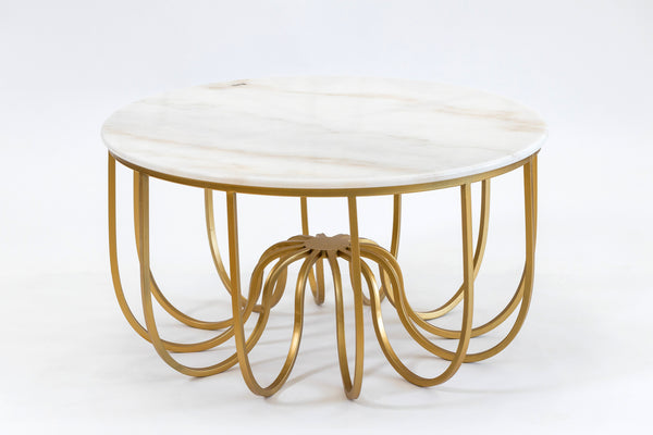 "32"" Fleur Gold/White Marble Table- Metalle Collection"