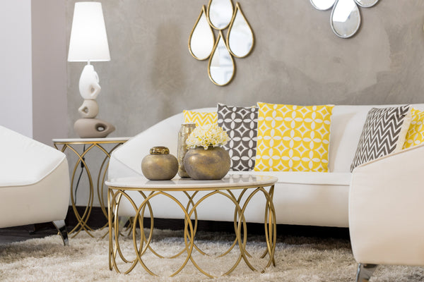 "32"" Circlet Gold/White Marble Table- Metalle Collection"