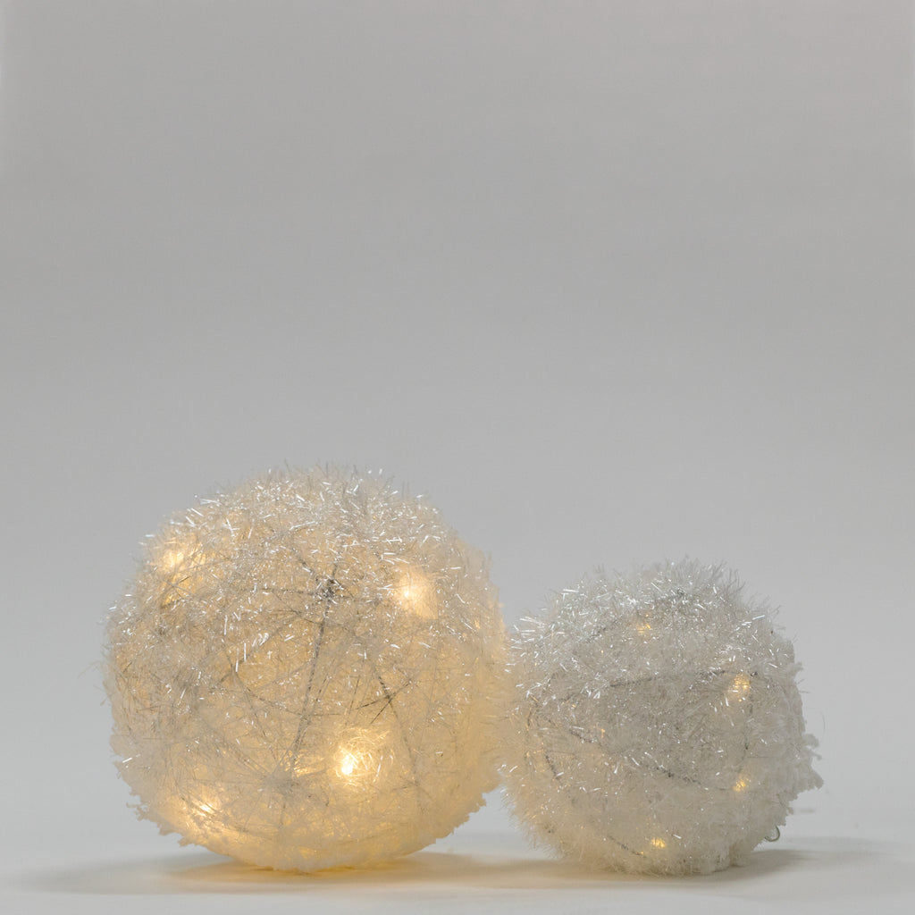 "8"" White Tinsel Ball w/ LED - Bright Collection"