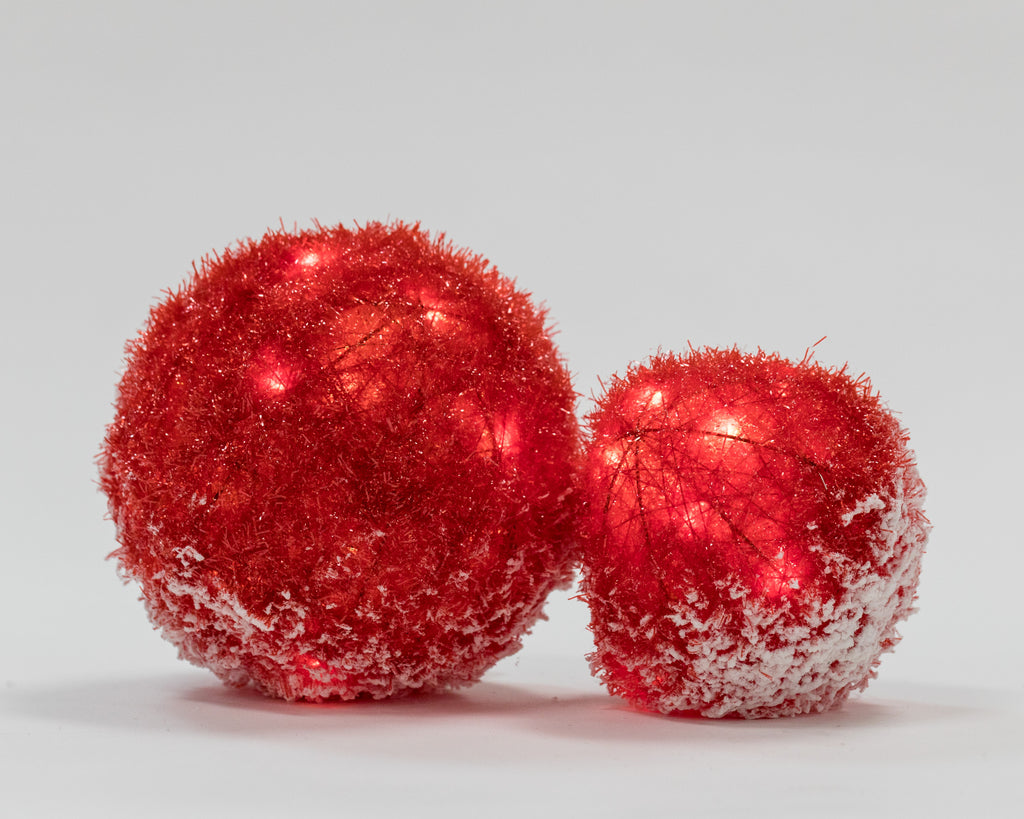"8"" Red Tinsel Ball w/ LED - Bright Collection"