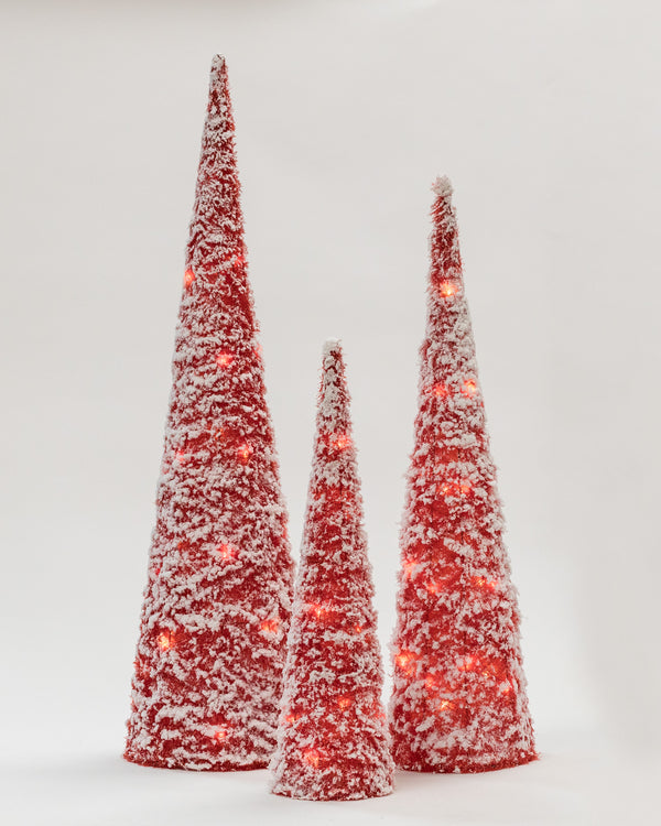 "Red Tinsel Set/3 cones w/ LED (24"", 32"", 40"")- Bright Collection"