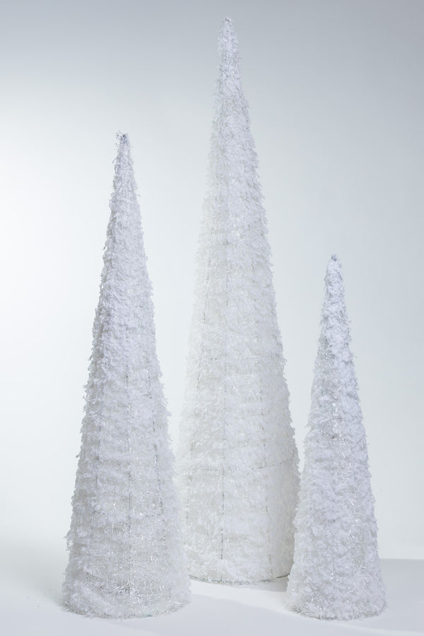 "White Tinsel Set/3 cones w/ LED (24"", 32"", 40"")- Bright Collection"