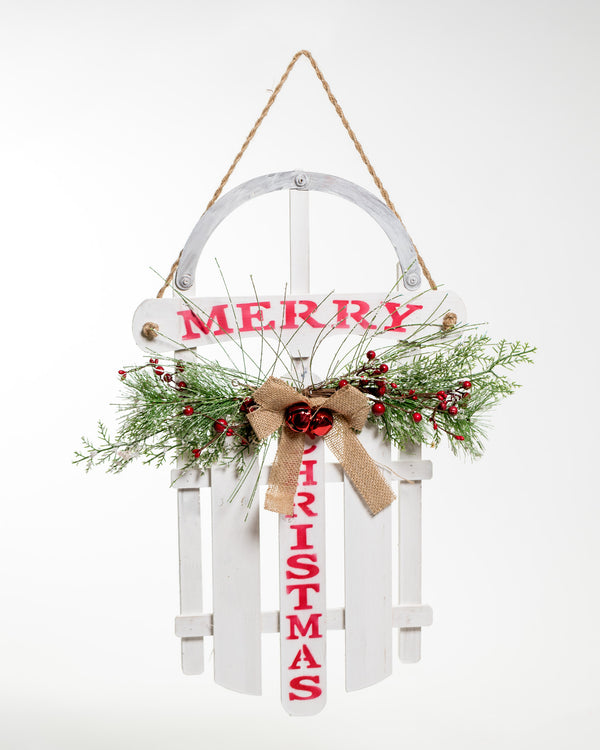 "23"" White Chritsmas Sled - Vintage Collection"