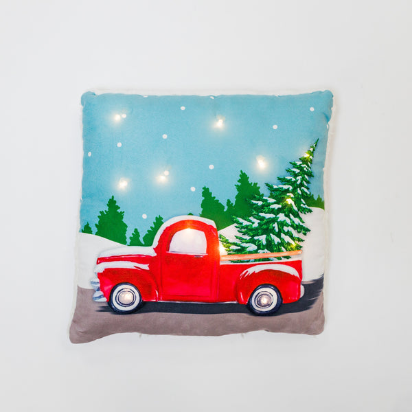 Christmas Truck Pillow with LED
