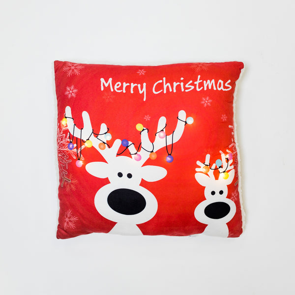 Christmas Reindeer Red Pillow with LED