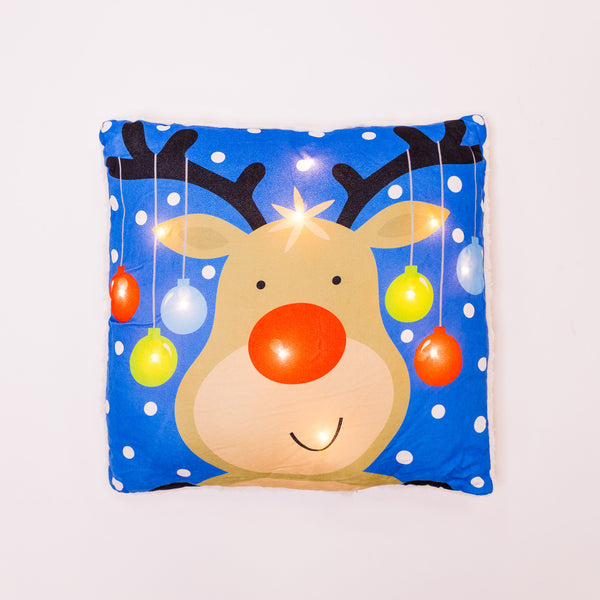 Christmas Reindeer Blue Pillow with LED