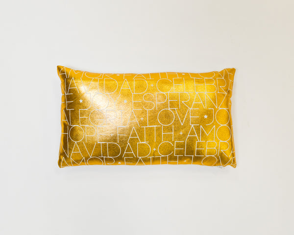 Gold Mosaico de Navidad Pillow by Liz Designs