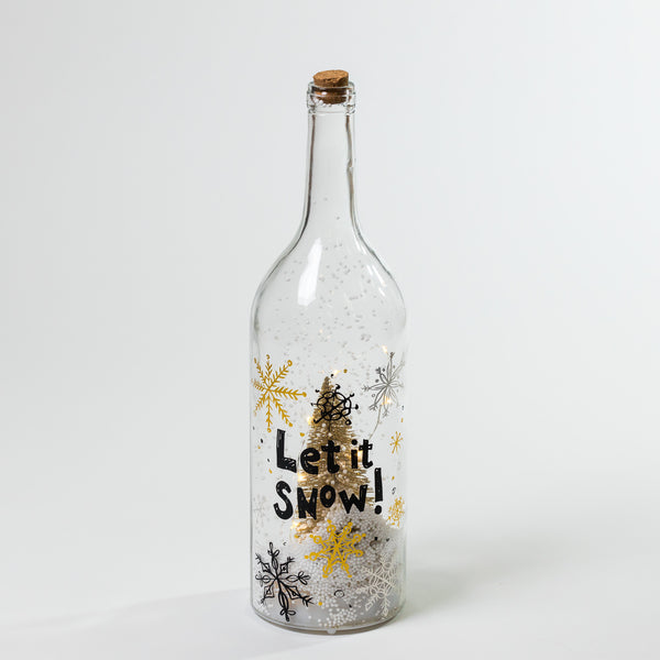 "18"" Let it Snow Glass Bottle w/ LED + Xmas Movable Deco - Felicitá Collection"