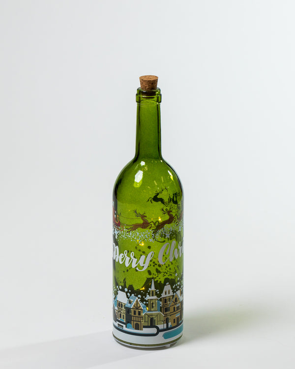 "14"" Green Musical Glass Bottle w/ LED - Felicitá Collection"