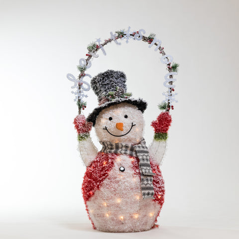 "44"" Tinsel Snowman w/ LED - Bright Collection"