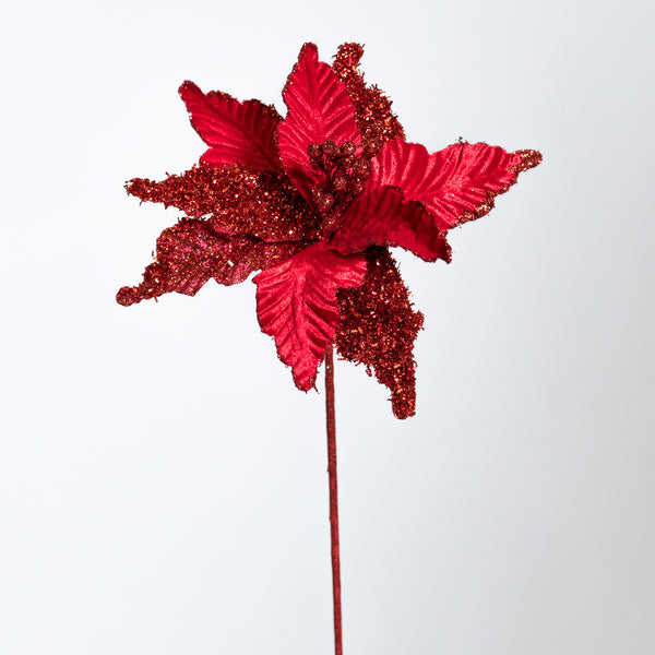 "10"" Red Festive Glittered Poinsettia"