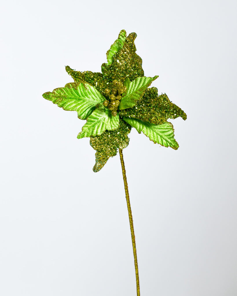 "10"" Green Festive Glittered Poinsettia"
