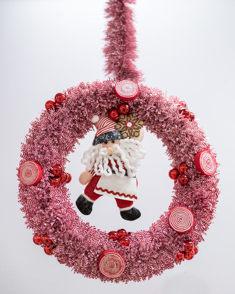 "12"" Red/White Tinsel Wreath"