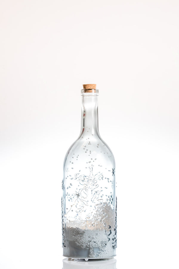 "16"" Glass Bottle w/ Snow & LED - Felicitá Collection"