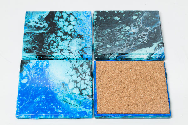 ArtVibes Ceramic Coaster Set-Blue Sea