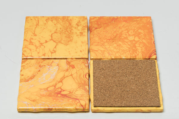 ArtVibes Ceramic Coaster Set-Fire Orange