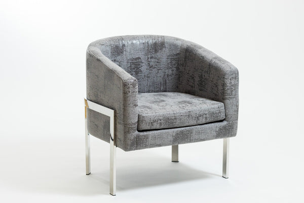 Rylee Charcoal Gray Armchair-Stainless Stainless Steel Frame