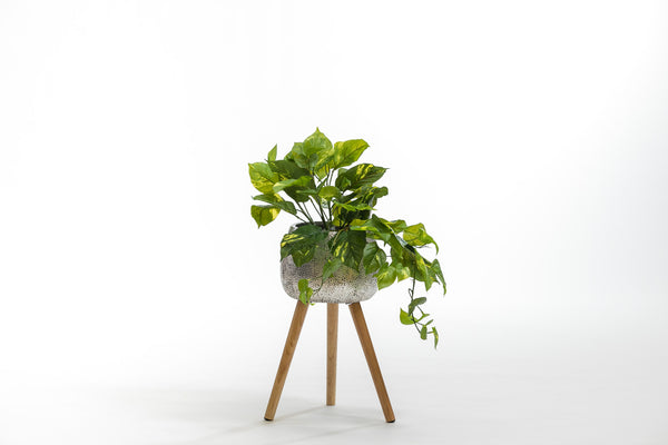 "19"" Silver Planter with wood stand- Metalle Collection"