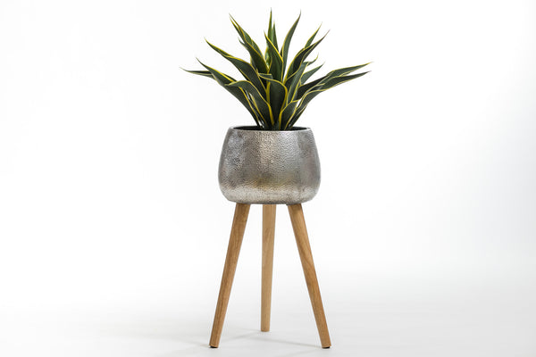 "27"" Silver Planter with wood stand- Metalle Collection"
