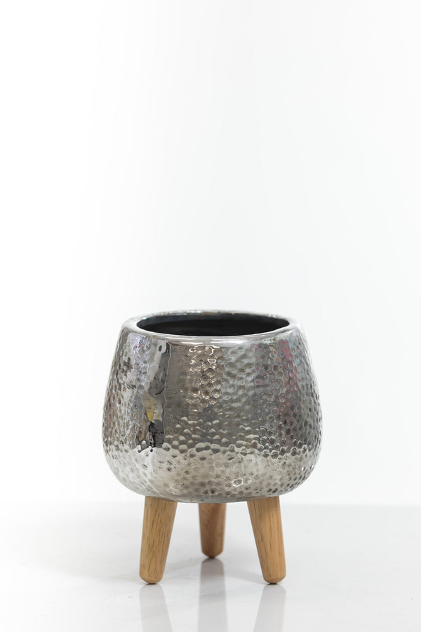 "6"" Silver Vase with wood stand"