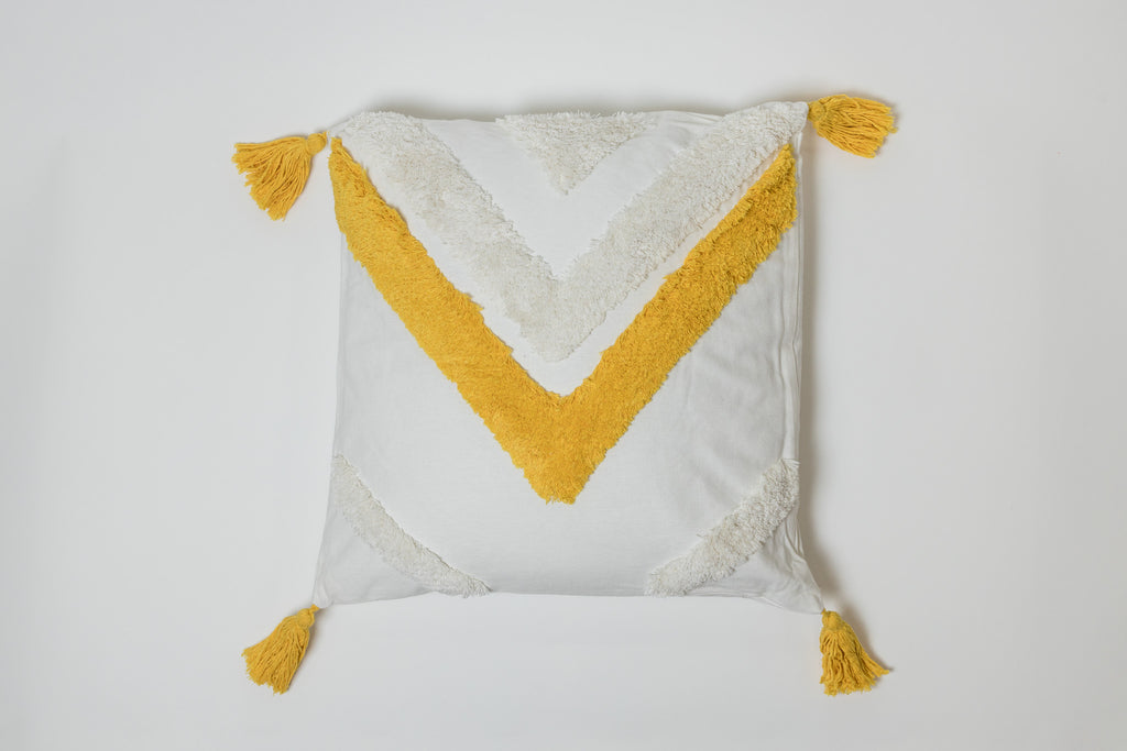 Triangle Yellow Pillow - Brodé Collection