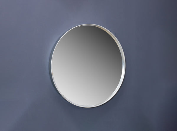 "12"" Silver Round Mirror - Metalle Collection"