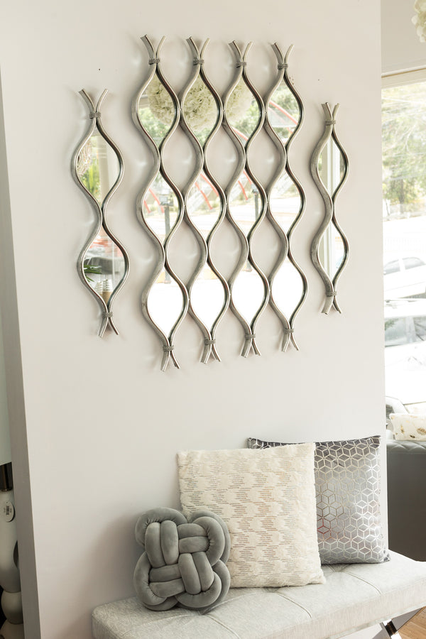 "28"" Silver Curvy Mirror - Metalle Collection"