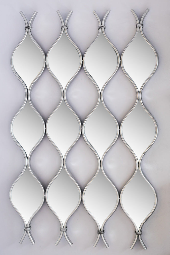 "38"" Silver Curvy Mirror set/4 - Metalle Collection"