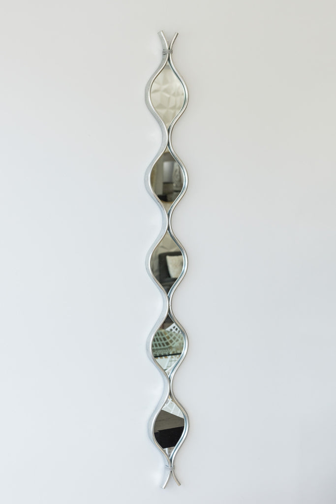 "60"" Silver Curvy Mirror - Metalle Collection"