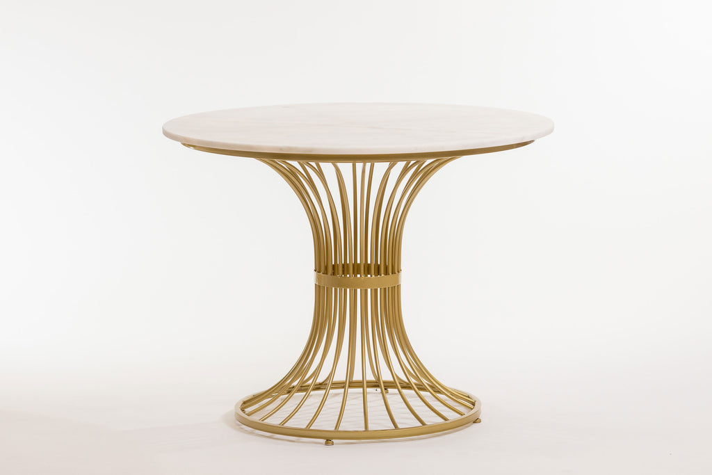 Lignes Gold/White Marble Table- Metalle Collection