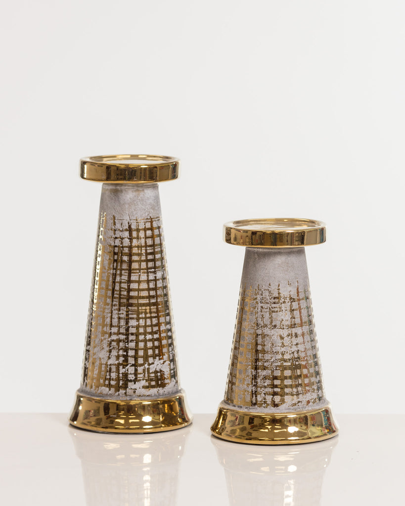 "9"" Gold Candleholder- Shades Collection"