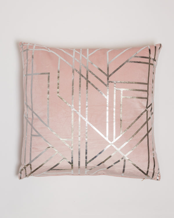 "18"" x 18"" Metallique Lines Pillow - Rose/Silver"
