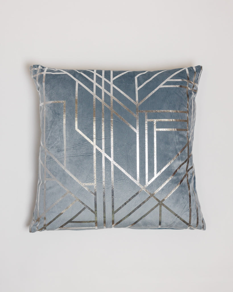"18"" x 18"" Metallique Lines Pillow - Blue/Silver"